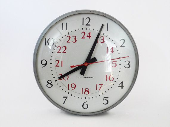 Vintage Industrial 12 Inch School Wall Clock 24 Hour
