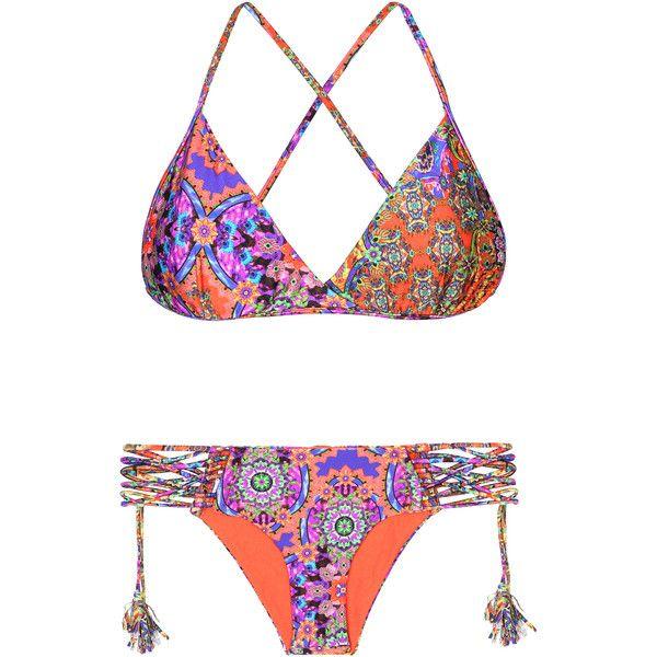 Luli Fama Strappy Multi-colour Bikini With Pompons - Gipsy Soul (6,185 THB) ❤ liked on Polyvore featuring swimwear, bikinis, orange, triangle swim wear, strap bikini, lycra swimwear, triangle bikini swimwear and bikini two piece