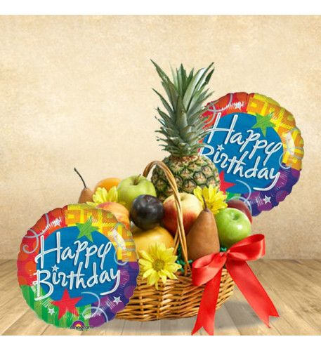 Frootiiee-licious Birthday A fresh fruits basket filled with assortment of different fruits surprises someone special on their birthday and couple of balloons delightfully express the message. A wonderful fruit-basket that is simply make the birthday astonished. Simply mouth-watering.