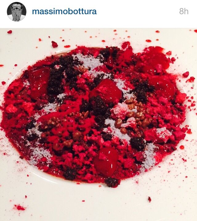 Camouflage in red: chocolate, cherries and berries by Massimo Bottura @OsteriaFrancescana
