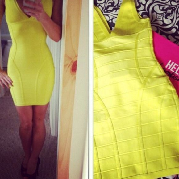 💥NEW💥 Neon yellow bandage dress Beautiful thick material. Molds your body in all the right places. Celeb Boutique Dresses