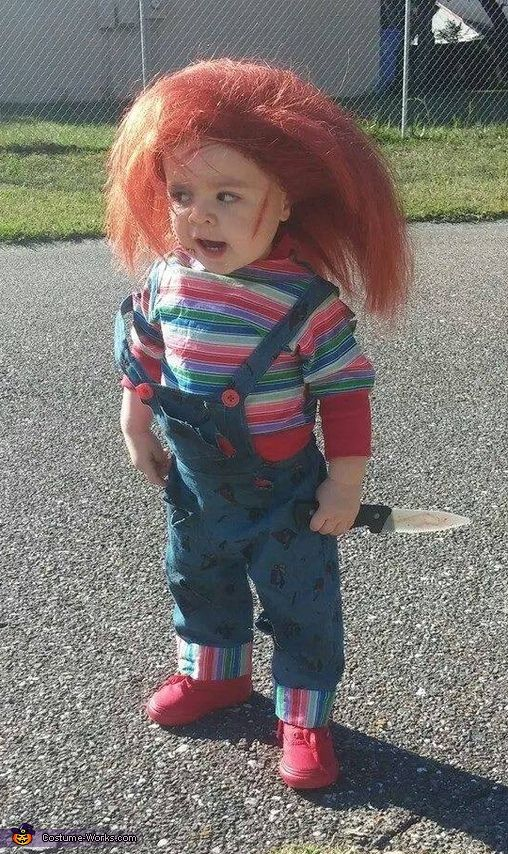 Ashley: Collin, my son. (Age 1) Coming out of Brandon, Fl. Is dressed up as chucky! For his FIRST trick or treating experience. Ideal came from his father and his interest...