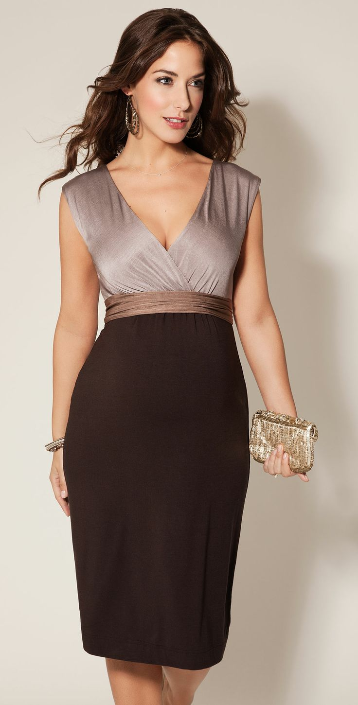 Jewel Block Maternity Dress Coffee Bean - Maternity Wedding Dresses, Evening Wear and Party Clothes by Tiffany Rose