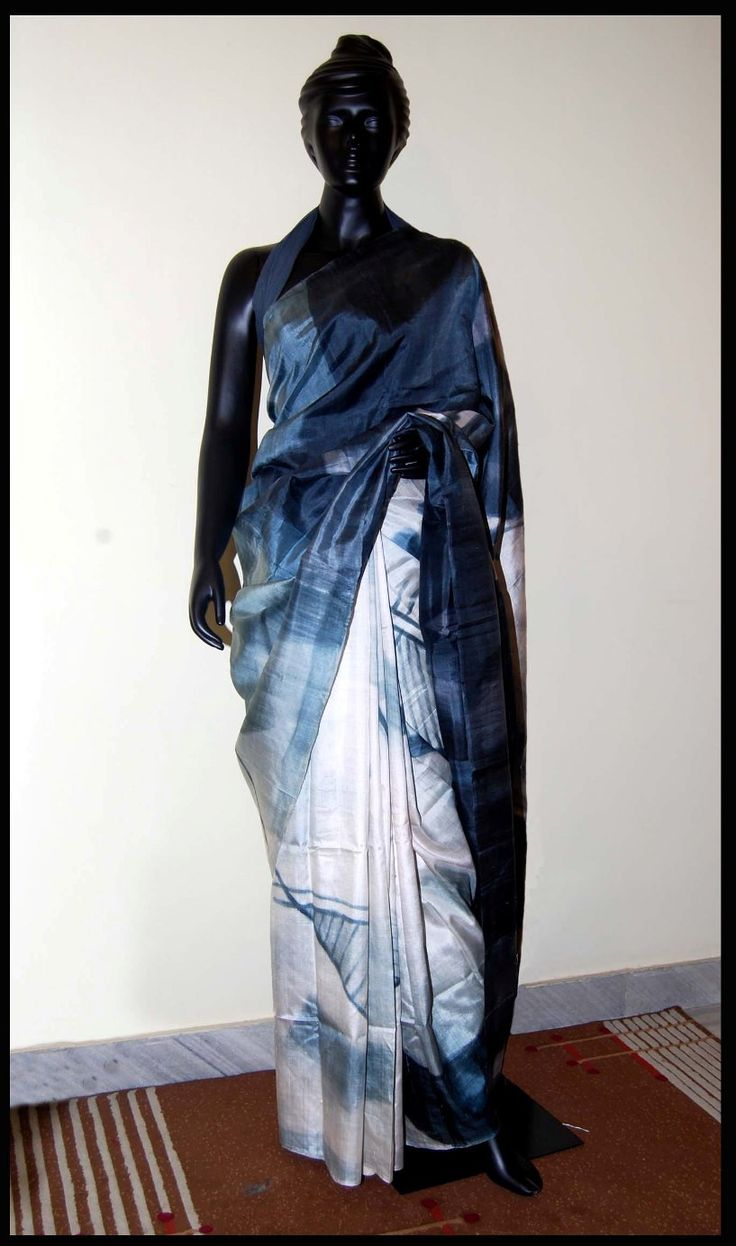White and grey Hand-painted saree – Panache Haute Couture
