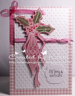 2013 @ Stamping in Pink: Lin Brown of LB Designs Olney (very old stamp); embossing folder; white EP; Craftwork Cards card & foiled sentiment; ribbon