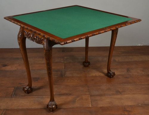 Carved Mahogany Chippendale Style Card Table   Antiques Atlas