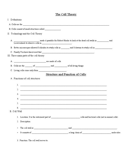 worksheet: Cell Theory Worksheets A View Of The Worksheet Answers ...