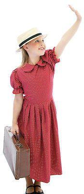 Edwardian-1940s-WW2-RED-POLKA-DOT-Fancy-Dress-Costume-Age-3-TEEN