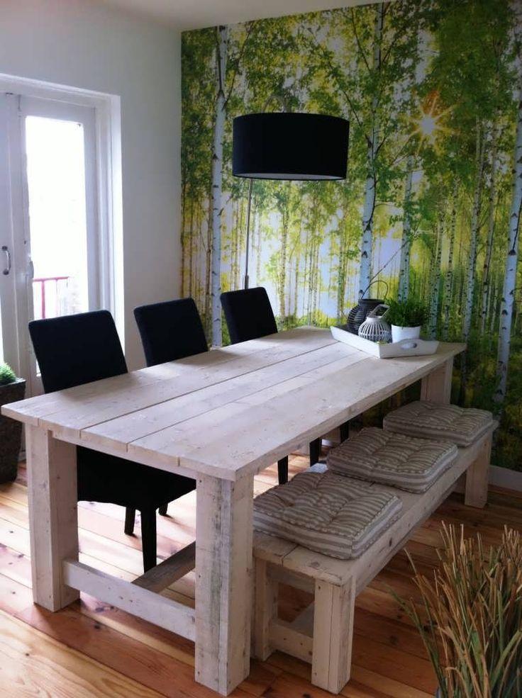 Steigerhout tafel Njord afgewerkt met white wash