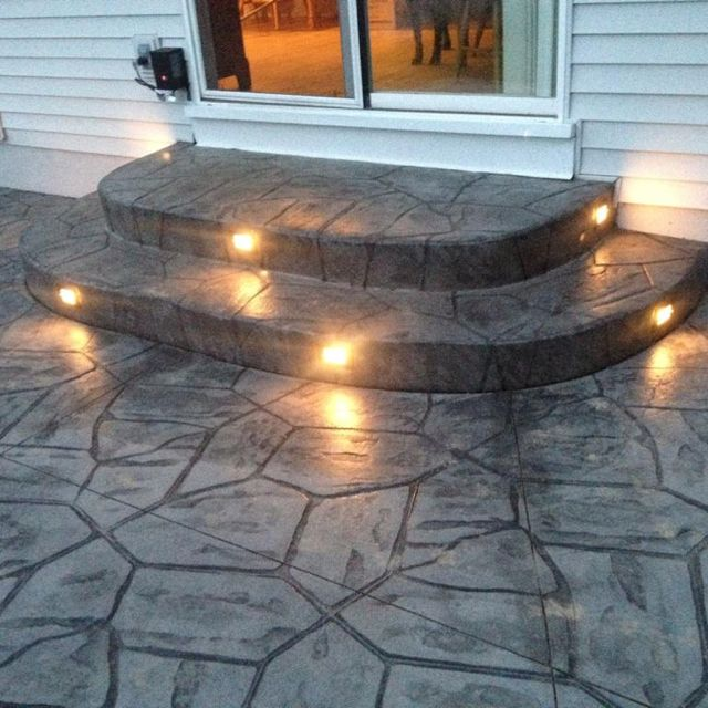 Stamped Concrete Backyard Ideas stamped concrete ideas great for sprucing up a concrete driveway or patio rather than replacing it with some more decorative material like the italian Find This Pin And More On For The Home Great Idea To Embed Lights Into Stamped Concrete Patiosteps