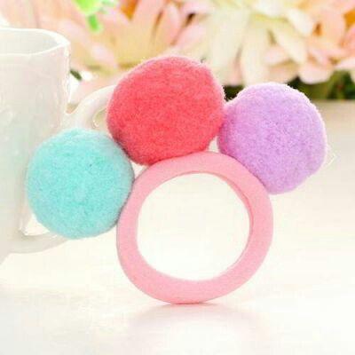 JRK Kids PomPom Fuzzy Balls Hair Band Pink | pinknee.com