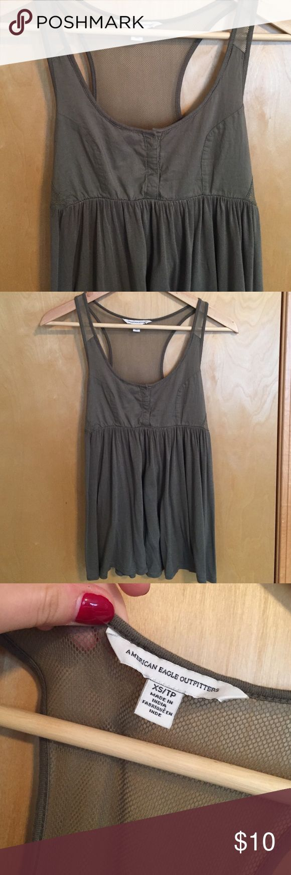 American Eagle olive top American Eagle XS green olive top with mesh back straps. Worn once American Eagle Outfitters Tops Tank Tops