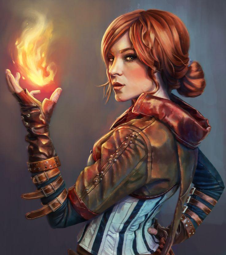 Portrait of Triss - Witcher Fan Art, Ayhan Aydogan on ArtStation at https://www.artstation.com/artwork/triss-witcher-fan-art