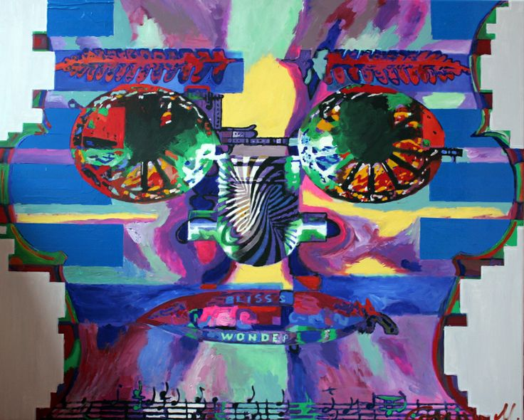 video projection transforming in acrylic on canvas