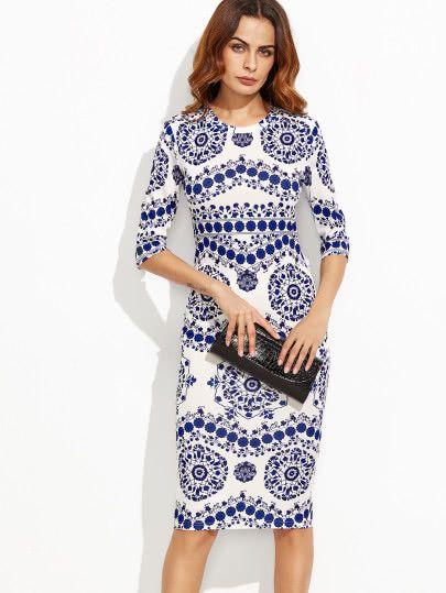 Porcelain Print Pencil Dress