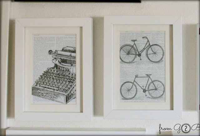 I ♥ the old typewriter graphic on book page. Great for an office and cheap and easy to do.--from GARDNERS 2 BERGERS: [Pottery Barn Hack] Book Page Wall Art