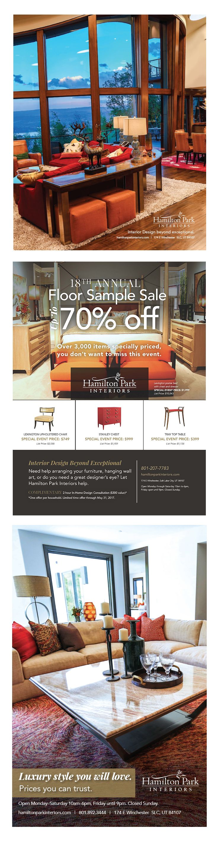 Display ads for Hamilton Park Interiors by Epic Marketing. #magazineads #interiordesign #graphicdesign #advertising #marketing #furniture
