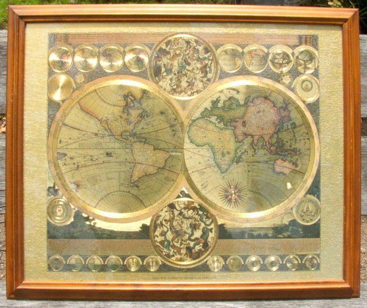 Map peter schenk the elder 1645 1715 gold foil antique world map