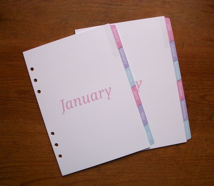 A5 Monthly 12-MONTH DIVIDERS Pastel