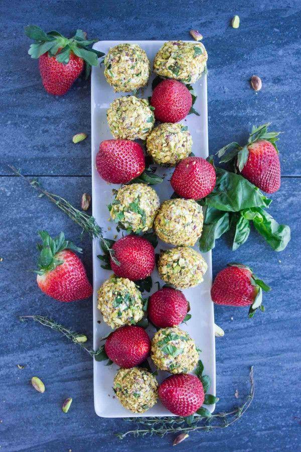 Goat Cheese Pistachio Coated Strawberries