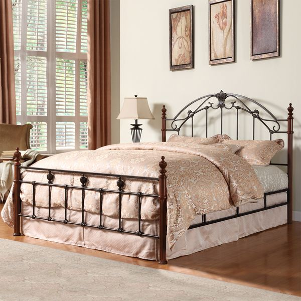 Tribecca Home Newcastle Graceful Scroll Bronze Iron King Sized Poster Bed  (Newcastle King Cast Iron Metal Bed), Gold