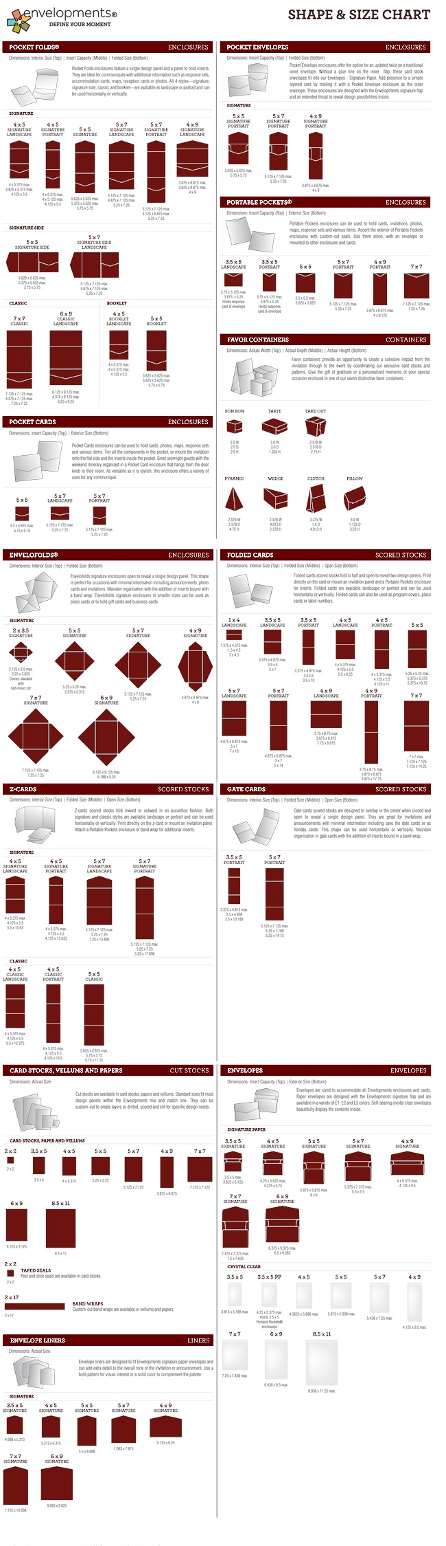 The 309 best paper cards sizes templates images on pinterest envelopments shape and size chart for all paper m4hsunfo