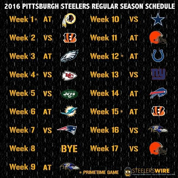 football pittsburgh steelers schedule