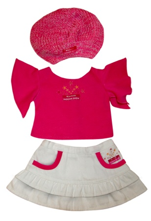 My doll outfit. American Girl Fashion Show souvenirs. Doll Beret $8.00  Doll Tee $10.00  Doll Skirt $11.00  Doll 3pc. Outfit (Beret, Shirt & Skirt) $27.00