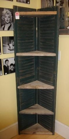 use for old bifold doors to create corner shelving unit for a craft fair booth