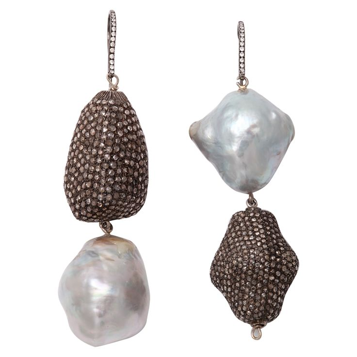 Opposite attraction earrings, baroque pearl, sterling silver, diamond, and white gold