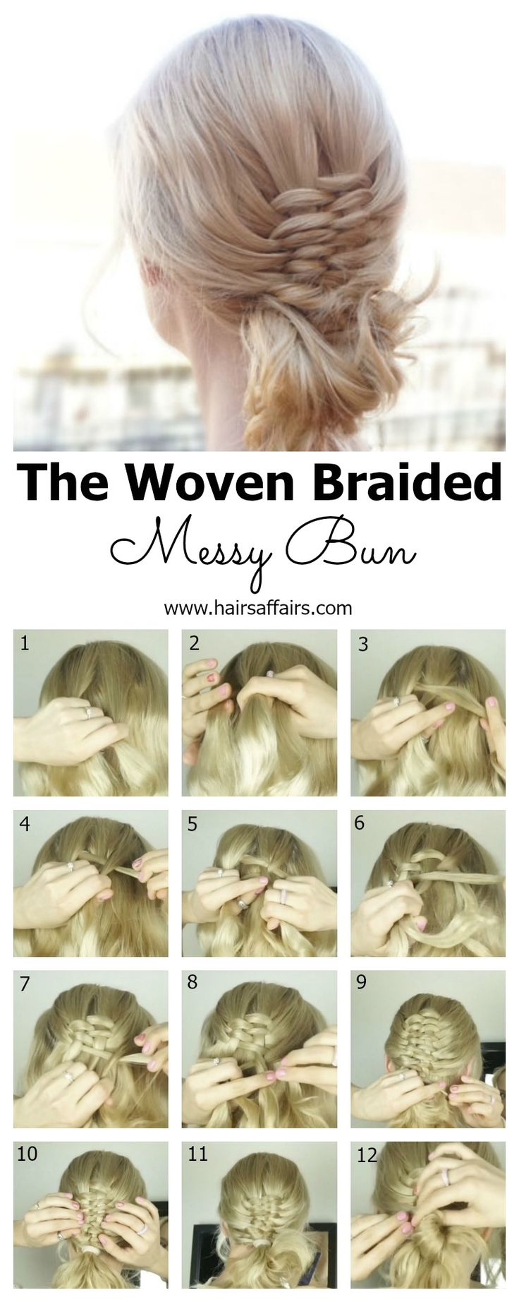 A cute messy bun, with an added accent - The Woven Braided Bun. It's quite easy to recreate! Check out the blog post, video tutorial included:  https://hairsaffairs.com/woven-braided-bun-tutorial/