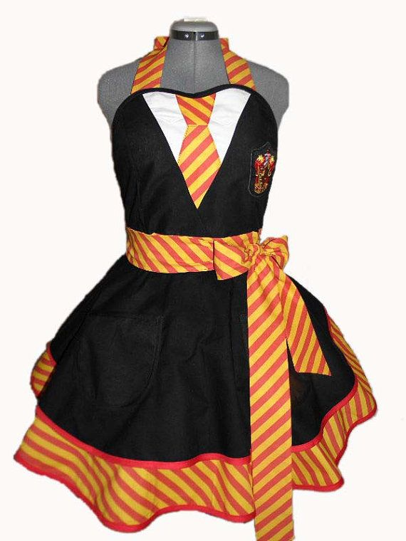 I NEED THIS!!!! The winner of this years House Cup? Gryffindor!!!! Entertain your friends, bake up a storm, or dress up for a Harry Potter cosplay event in this adorable retro apron. By BellaLise Designs.