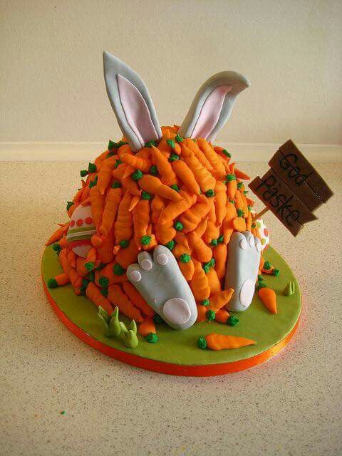 A bunny buried under carrots makes for a cute Easter cake!