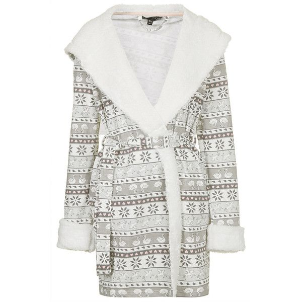 TOPSHOP Fairisle Fleece Robe (345 EGP) ❤ liked on Polyvore featuring intimates, robes, pajamas, pijama, sleepwear, tops, multi, hooded fleece robe, hooded dressing gown and hooded robe