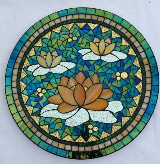 Golden Water lilies lazy susan by Glenys Fentiman