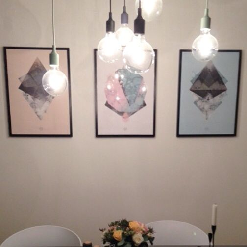 My artworks in 50x70cm. Lifeoftriangles in dustyblue and salmon and chaotic pastels - Autumn 2014