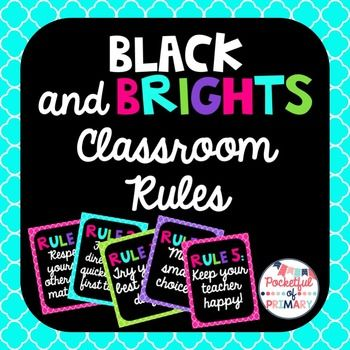 """Classroom Rules PostersBlack and Brights themeFull page classroom rules posters that will brighten up any elementary classroom!The following are included:In cursive font with choice between multicolored title or solid colored title:""""Our Classroom Rules"""" poster""""Rule 1: Respect yourself, others, and materials.""""""""Rule 2: Follow directions quickly the first time.""""""""Rule 3: Try your best every day.""""""""Rule 4: Make smart choices.""""""""Rule 5: Keep your teacher happy!""""In print font with choice between…"""