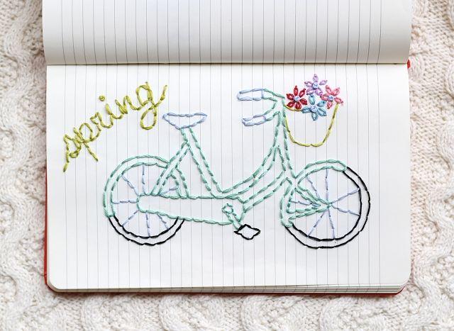 Se puede bordar sobre muchas superficies. Una de ellas, hojas de un cuaderno, como lo hace One sheepish girl, seguid el enlace para ver más.