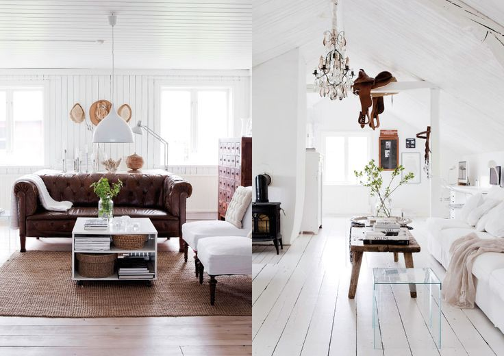 Gorgeous all white Swedish country house (love the touch with the saddle on the beam!)