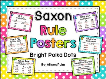 These cheerful posters correspond to the wall cards used in the Saxon Phonics program for first grade. They include the spelling rules and vowel rules taught. These rules are immensely helpful for my students when they need to decode or spell an unfamiliar word.- K and C Spelling Rules- Final /k/ Spelling Rules- Floss Rule- Adding a Consonant Suffix- Final /v/ Spelling Rule- Final /s/ Spelling Rules- Dropping and Doubling Rules- J and G Spelling Rules- Final /ch/ Spelling Rules- Final /j…