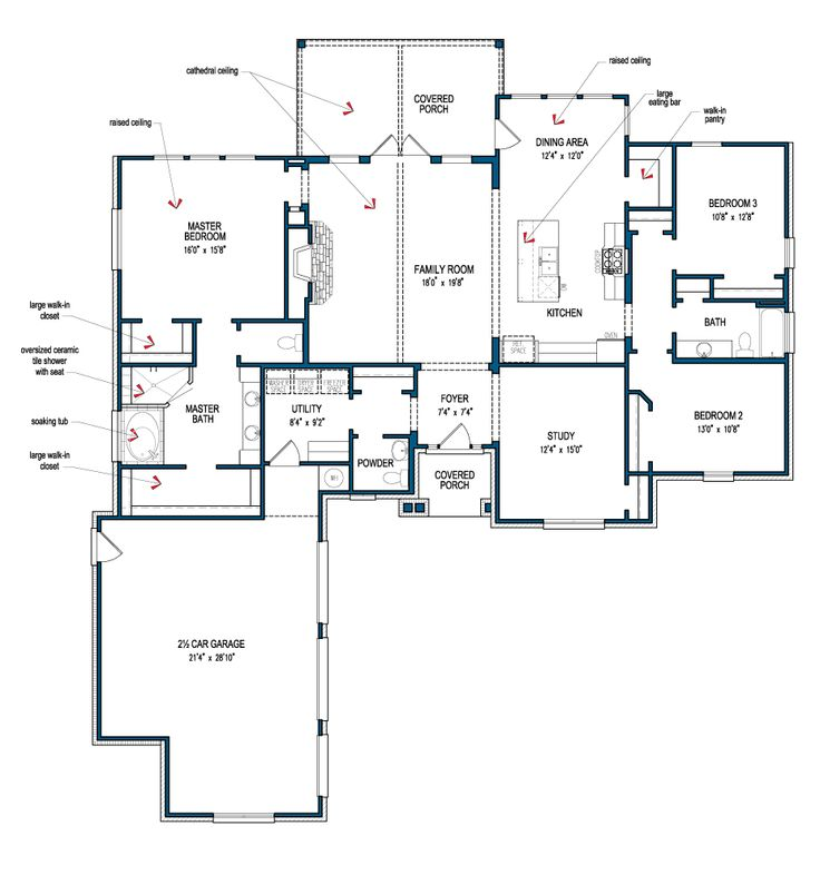 Tilson 39 s san bernard floor plan i like the cathedral for Cathedral ceiling home plans