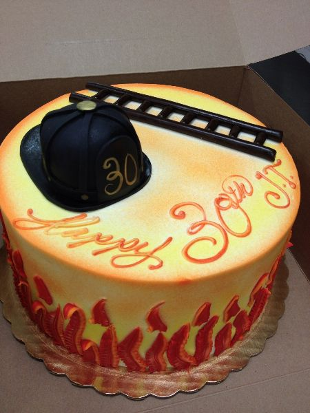 Firefighter Helmet & Ladder Birthday Cake | Shared by LION