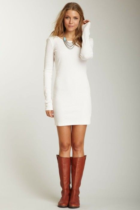 #vestido blanco con #botas marrones | Vestidos