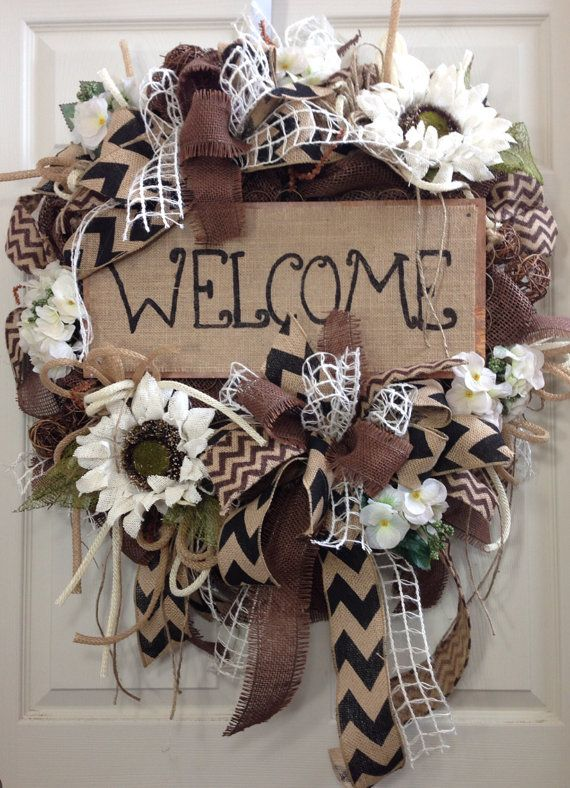 Summer Wreath Burlap Wreath Everyday Burlap by WilliamsFloral, $119.00
