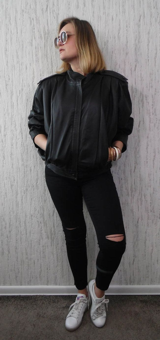 Vintage Black Leather Jacket by SweetSpicyVintage on Etsy