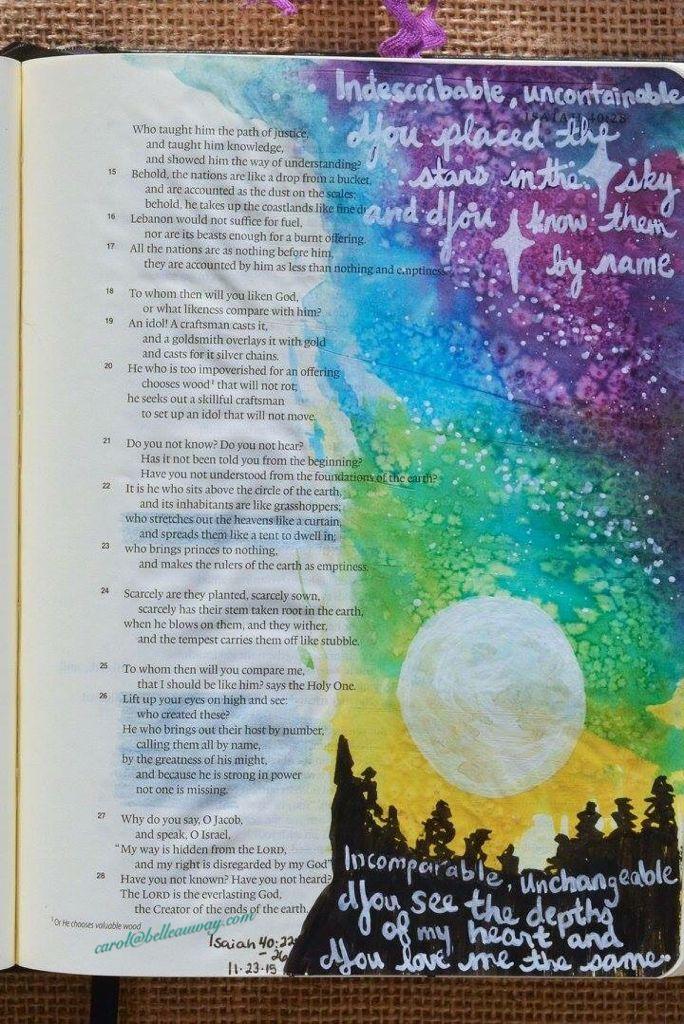 Isaiah 40:22, 26 November 23, 2015 carol@belleauway.com, distress ink, Gel pen, bible art journaling, journaling bible, illustrated faith