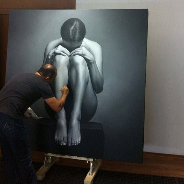 One of hyperrealistic artist Juan Carlos Manjarrez's amazing figurative oil paintings.