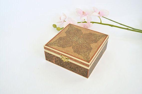 Ornamental decoupaged jewelry box  Wooden box  Indian by LekaArt