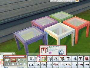 Mod The Sims - Square Dining Table Set in 5 Colours
