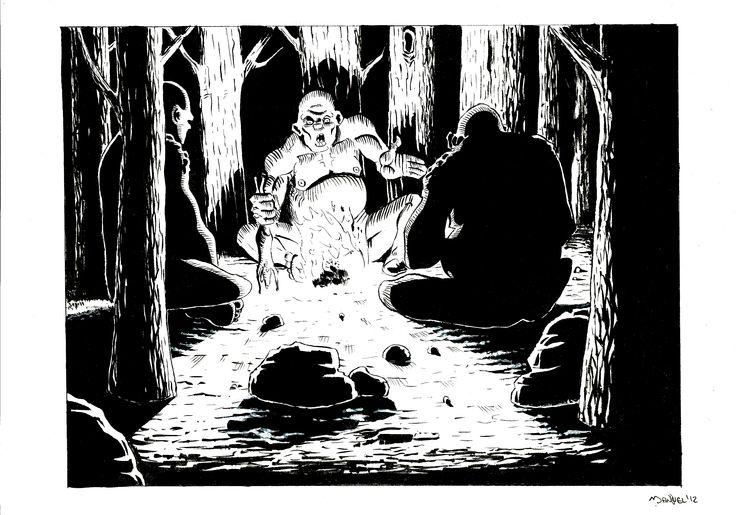 """inchiostrazione """"gli uomini neri"""" ispirato all'omonimo capitolo dello Hobbit di J.R.R. Tolkien"""